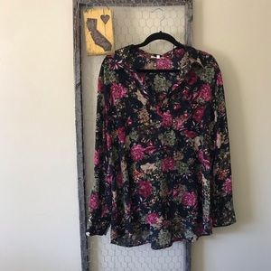 Pleione Navy and Pink Floral Tracy Blouse